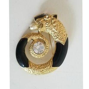 Vintage Enamel Ouroboros Panther Brooch